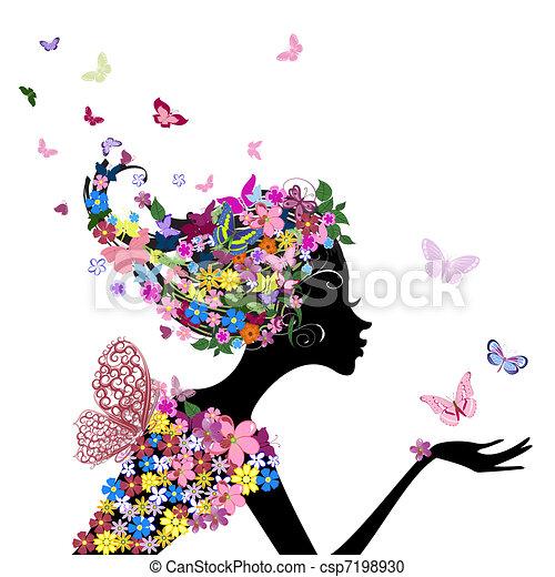 Chica con flores y mariposas - csp7198930