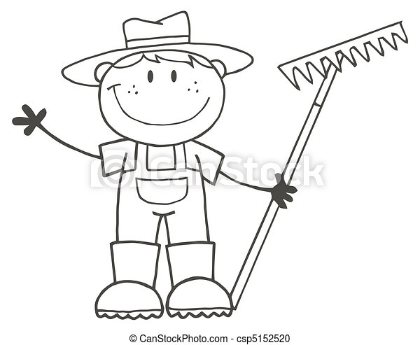 Chico granjero esbozado - csp5152520