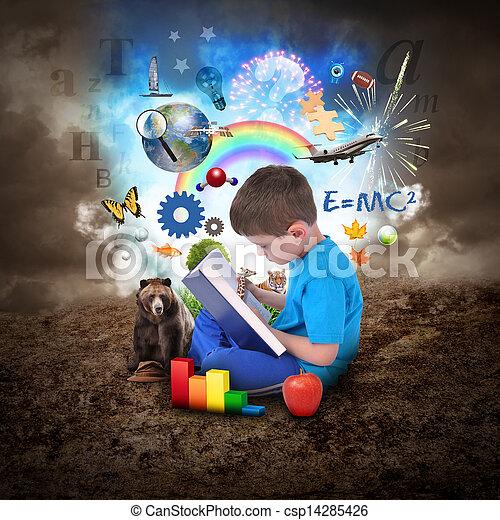 Chico leyendo libros con objetos educativos - csp14285426