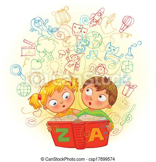 Chico y chica leyendo un libro de magia - csp17899574