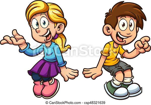 Chico y chica sentados - csp48321639