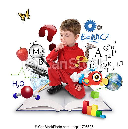 Un joven estudiante de ciencias que piensa en libros - csp11708536