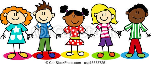 Los chicos de la diversidad étnica - csp15583725