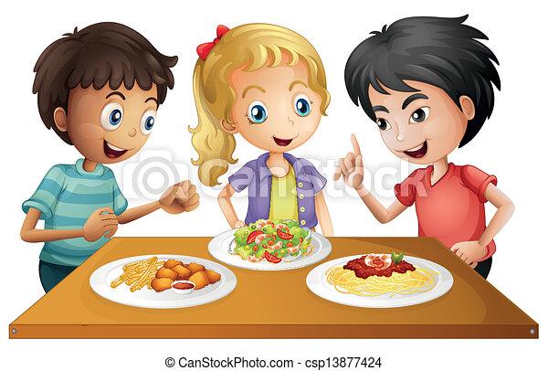 Niños mirando la mesa con comida - csp13877424