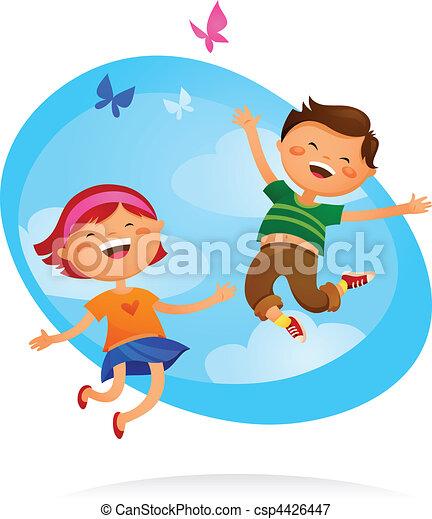 Niños felices saltando - csp4426447