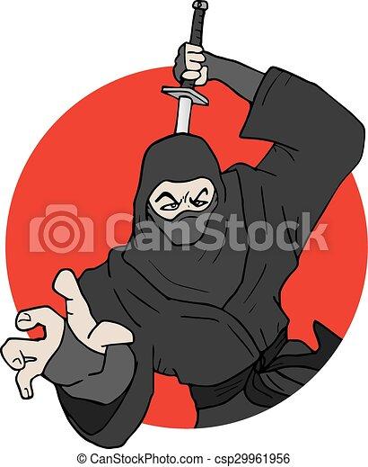 Ilustración ninja japonesa - csp29961956
