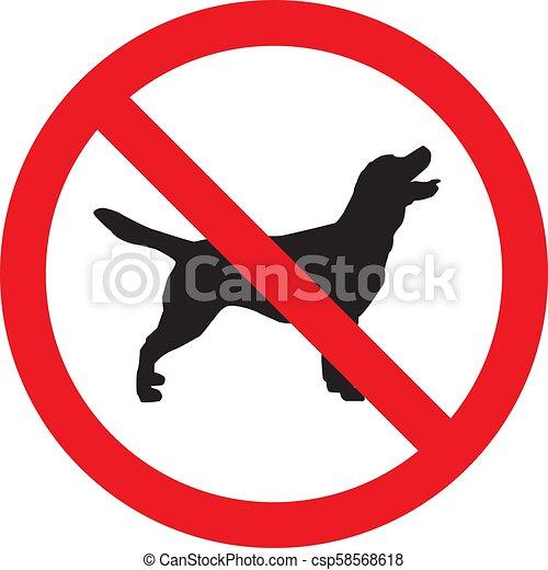 No hay señales de perros aislados en el fondo blanco. Ilustración de vectores - csp58568618