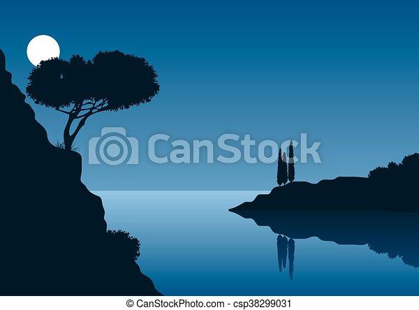 Noche de luna llena con paisajes costeros - csp38299031