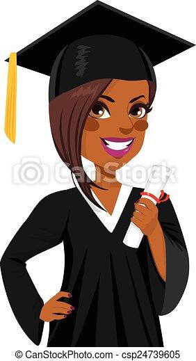 Chica de graduación afroamericana - csp24739605