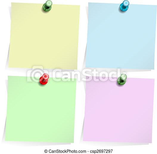Notas adhesivas aisladas en blanco - csp2697297
