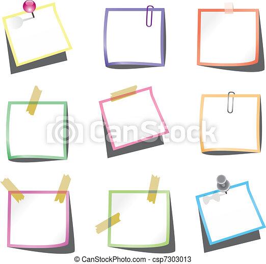 Notas de papel con alfileres y clip - csp7303013