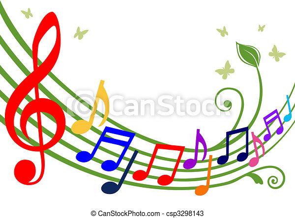 Coloridos apuntes musicales - csp3298143