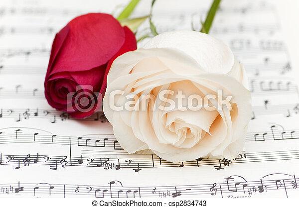 Rosas blancas y rojas en notas musicales - csp2834743