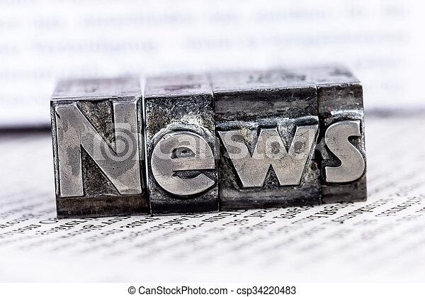 Noticias en letras de plomo - csp34220483