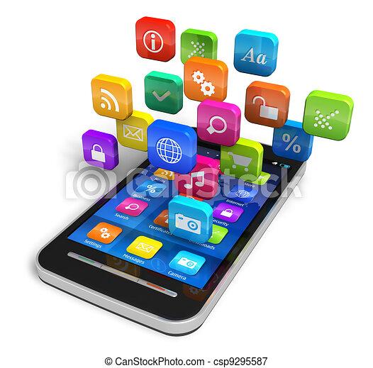 Teléfono inteligente con nubes de iconos de aplicación - csp9295587