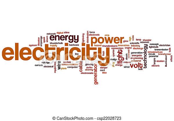 Nube de palabra de electricidad - csp22028723