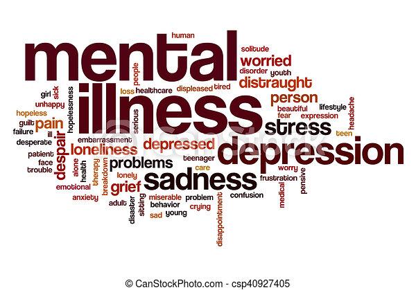 Nube de palabra de enfermedad mental - csp40927405