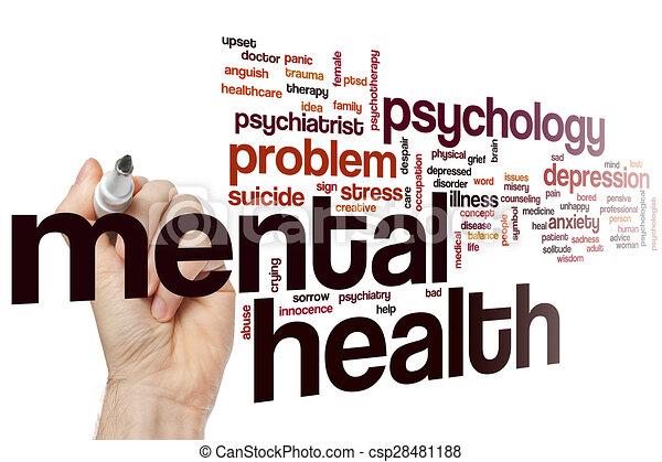 Nube de palabra de salud mental - csp28481188