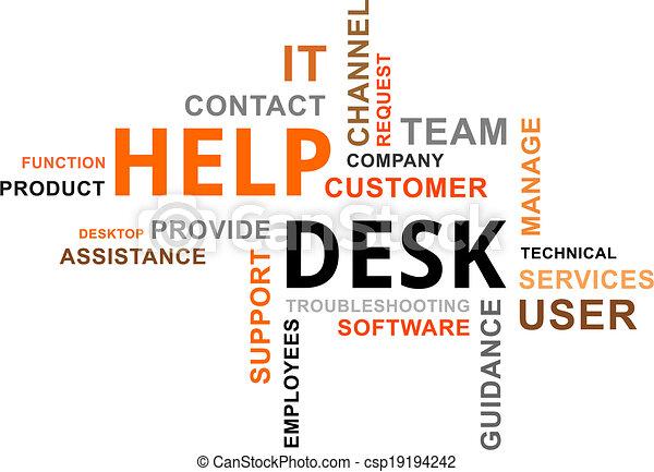 Nube de palabras, escritorio de ayuda - csp19194242