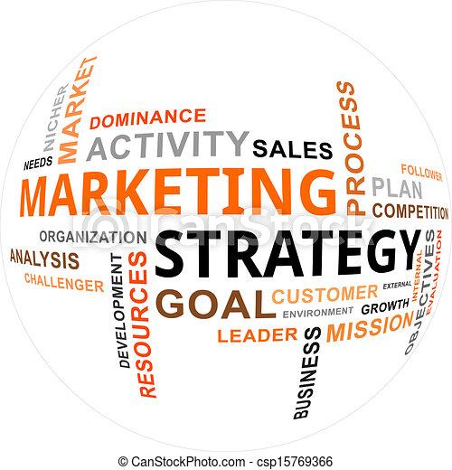 Nube de palabras: estrategia de marketing - csp15769366