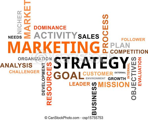 Nube de palabras: estrategia de marketing - csp15755753