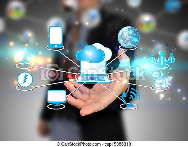 Negocios que mantienen a Cloud computando, concepto tecnológico - csp15388310