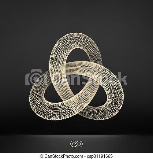 Nudo de cola. Estructura de conexión. Vector 3D ilustración. - csp31191665