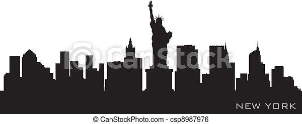Nueva York Skyline. Detallado vector silueta - csp8987976