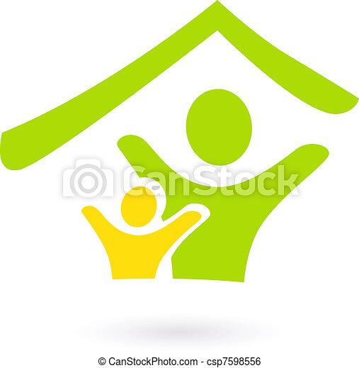 Abstraer bienes raíces, familia o icono de caridad aislado en blanco - csp7598556