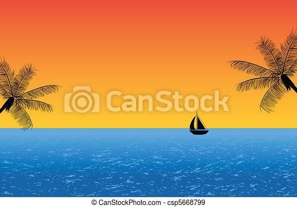 Océano azul al atardecer - csp5668799