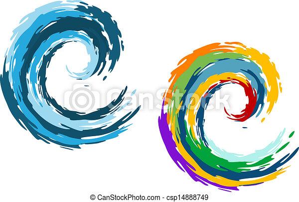 Olas azules y coloridas - csp14888749