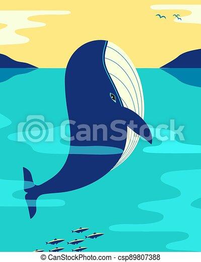 océano, ballena, vector, minimalista, azul, color, plano - csp89807388