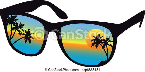 Gafas de sol con sol de mar - csp6865181