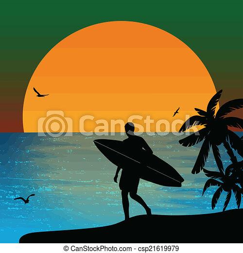 Silueta de surf en el atardecer - csp21619979