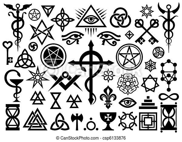 Signos ocultos medievales y sellos mágicos - csp6133876