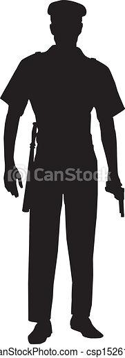 Oficial de policía masculino silueta - csp15261764