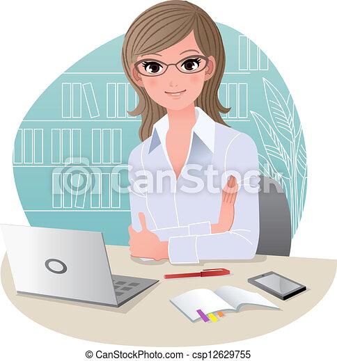 Bonita mujer de negocios en la oficina - csp12629755