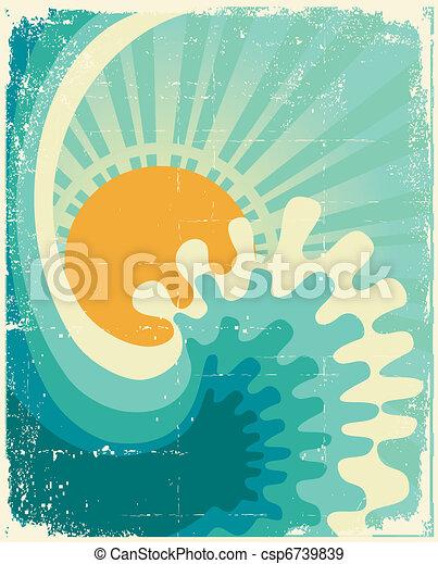 Ola en el océano. Aguante la naturaleza con el sol - csp6739839