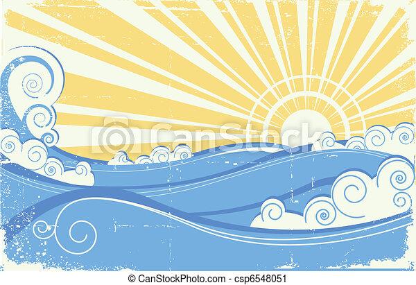 Ondas marinas llenas. Ilustración del vector del paisaje marino con sol - csp6548051