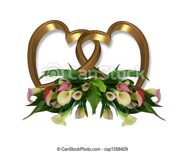 Corazones de oro y lirios de calla - csp1558429