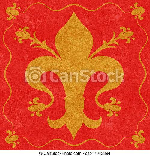 Flor de oro en un fondo rojo - csp17043394