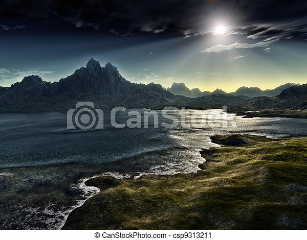 Un paisaje de fantasía oscuro - csp9313211