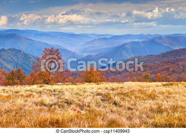Colorido paisaje de otoño en las montañas - csp11409943