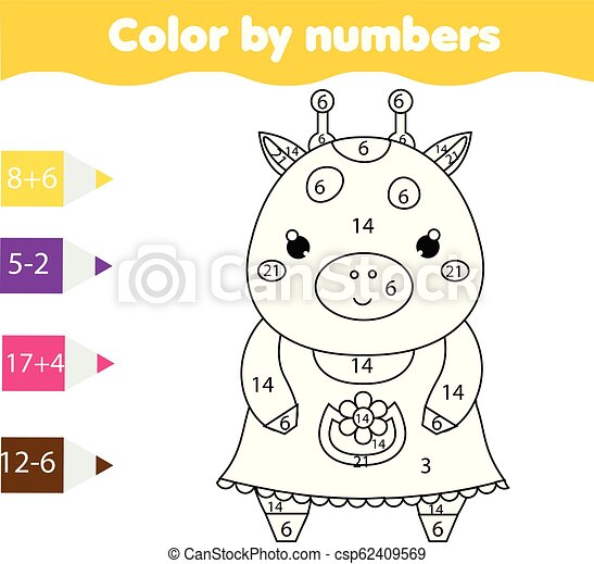 Página de color con jirafa linda color por actividad imprimible, juego de matemáticas para niños - csp62409569