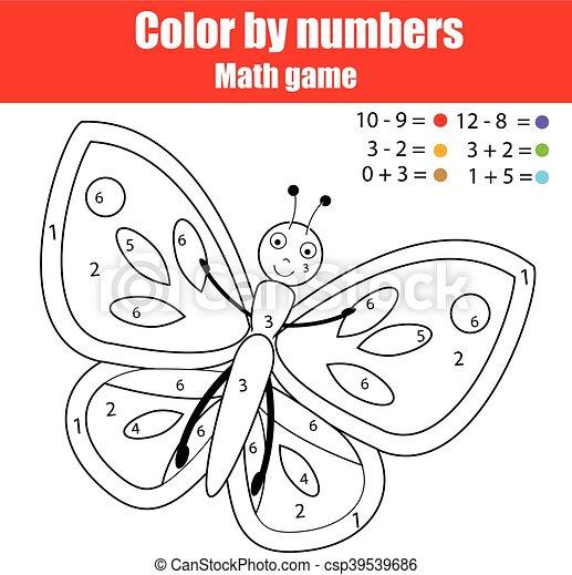 Página de color con mariposa. Color por números juegos de niños educativos, dibujar actividades de niños - csp39539686