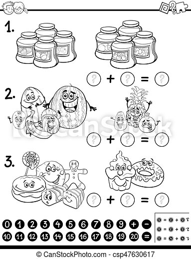 Página de coloración de actividad educativa - csp47630617