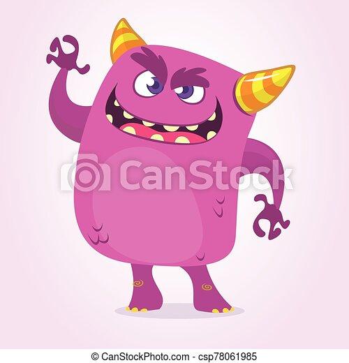 púrpura, halloween, monstruo, asustadizo, boca, vector, carácter, illustration., grande, diseño, caricatura, waving. - csp78061985