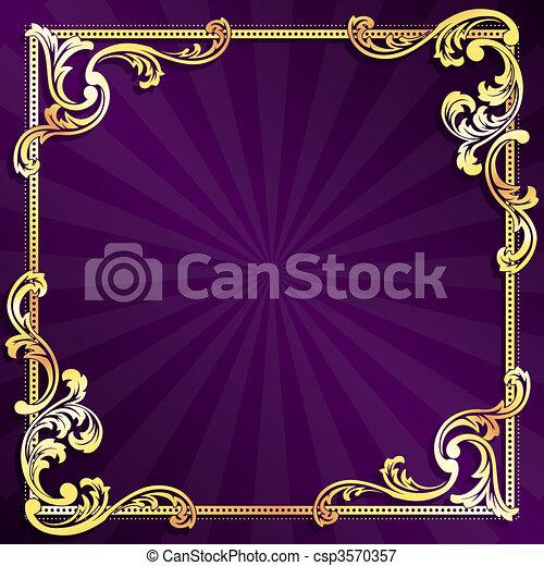 Púrpura y marco de oro - csp3570357