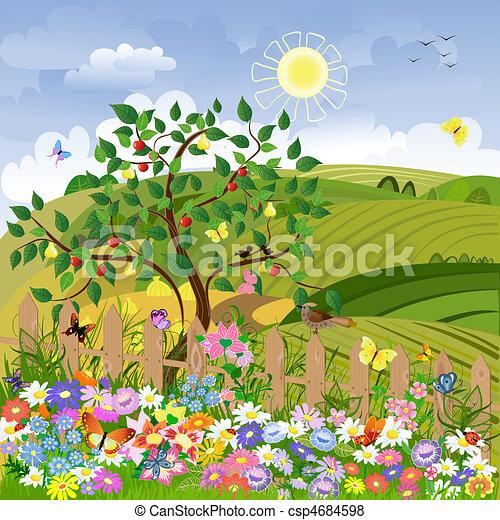 Un paisaje rural con árboles frutales y una cerca - csp4684598