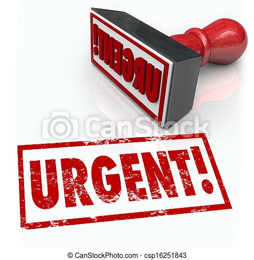 Se requiere un sello urgente de acción de emergencia inmediata - csp16251843